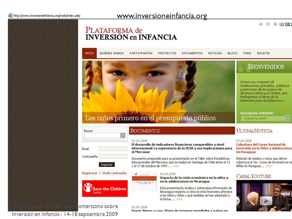 www.inversioneinfancia.org Jorge Oroza - II Taller Latinoamericano sobre Inversión en Infancia - 14-18 septiembre 2009