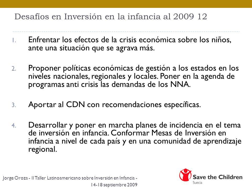Desafíos en Inversión en la infancia al 2009 12 1. Enfrentar los efectos de la crisis económica sobre los niños, ante una situación que se agrava más.
