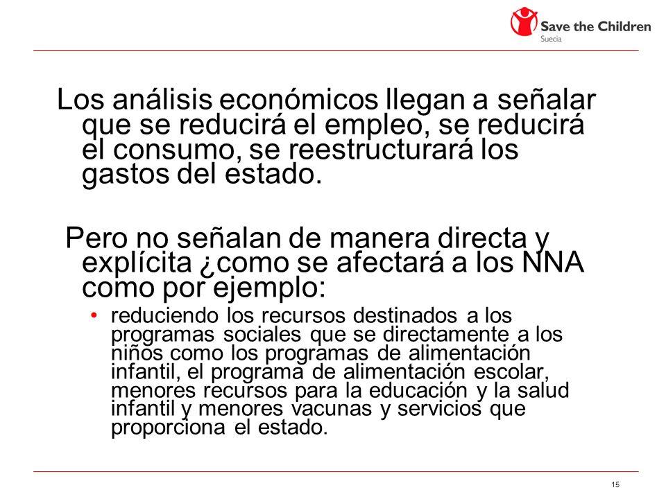 15 Los análisis económicos llegan a señalar que se reducirá el empleo, se reducirá el consumo, se reestructurará los gastos del estado.