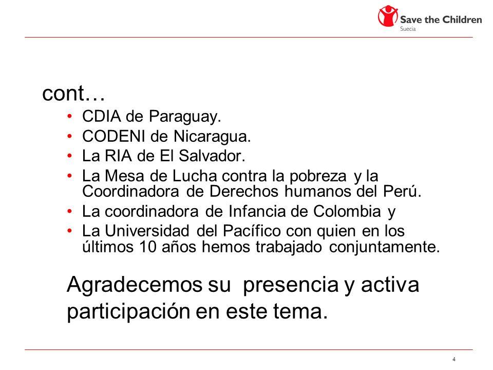 4 cont… CDIA de Paraguay. CODENI de Nicaragua. La RIA de El Salvador.