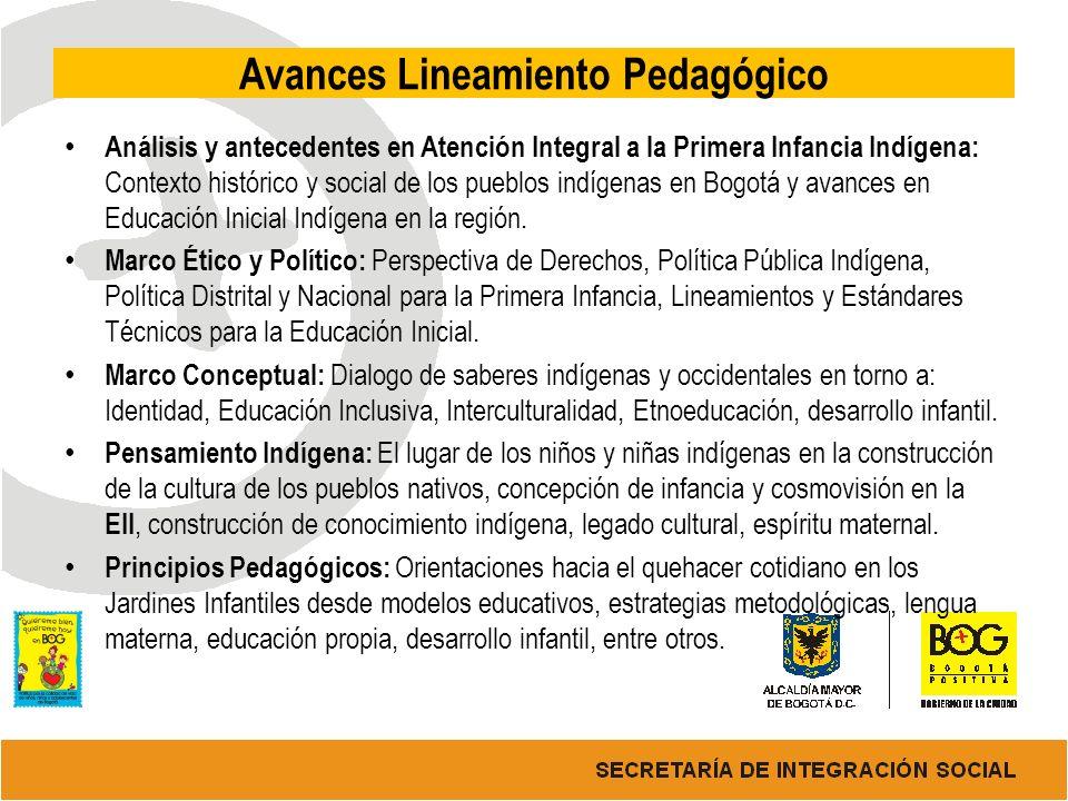 Avances Lineamiento Pedagógico Análisis y antecedentes en Atención Integral a la Primera Infancia Indígena: Contexto histórico y social de los pueblos