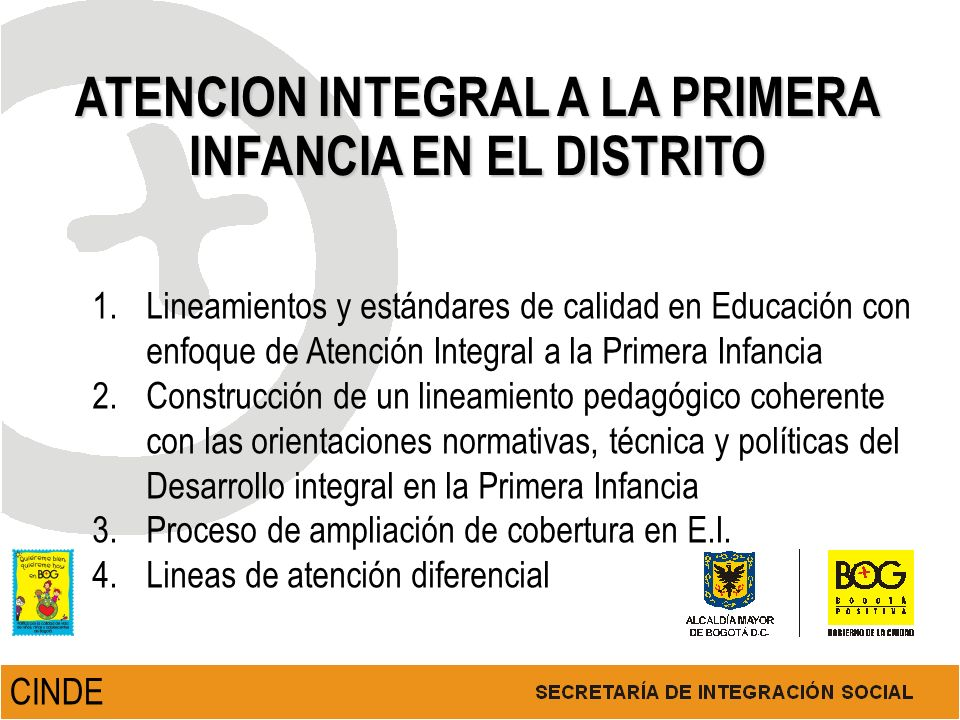 ATENCION INTEGRAL A LA PRIMERA INFANCIA EN EL DISTRITO 1.Lineamientos y estándares de calidad en Educación con enfoque de Atención Integral a la Prime