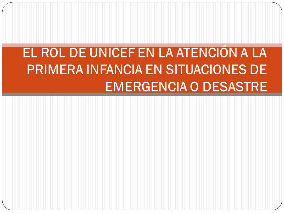 ROL DE UNICEF EN SITUACIONES DE EMERGENCIA UNICEF colabora con sus aliados locales e internacionales, entre los que figuran los gobiernos, otros organismos de las Naciones Unidas y la sociedad civil.
