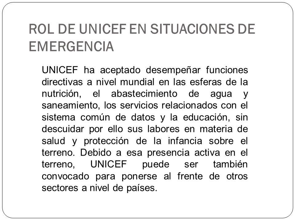 ROL DE UNICEF EN SITUACIONES DE EMERGENCIA UNICEF ha aceptado desempeñar funciones directivas a nivel mundial en las esferas de la nutrición, el abast