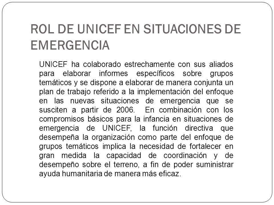 ROL DE UNICEF EN SITUACIONES DE EMERGENCIA UNICEF ha colaborado estrechamente con sus aliados para elaborar informes específicos sobre grupos temático