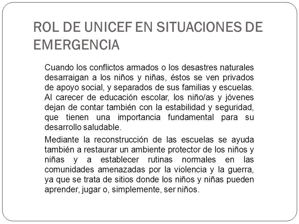 ROL DE UNICEF EN SITUACIONES DE EMERGENCIA Cuando los conflictos armados o los desastres naturales desarraigan a los niños y niñas, éstos se ven priva