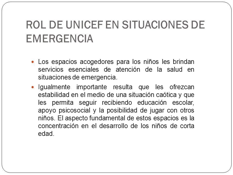 ROL DE UNICEF EN SITUACIONES DE EMERGENCIA Los espacios acogedores para los niños les brindan servicios esenciales de atención de la salud en situacio