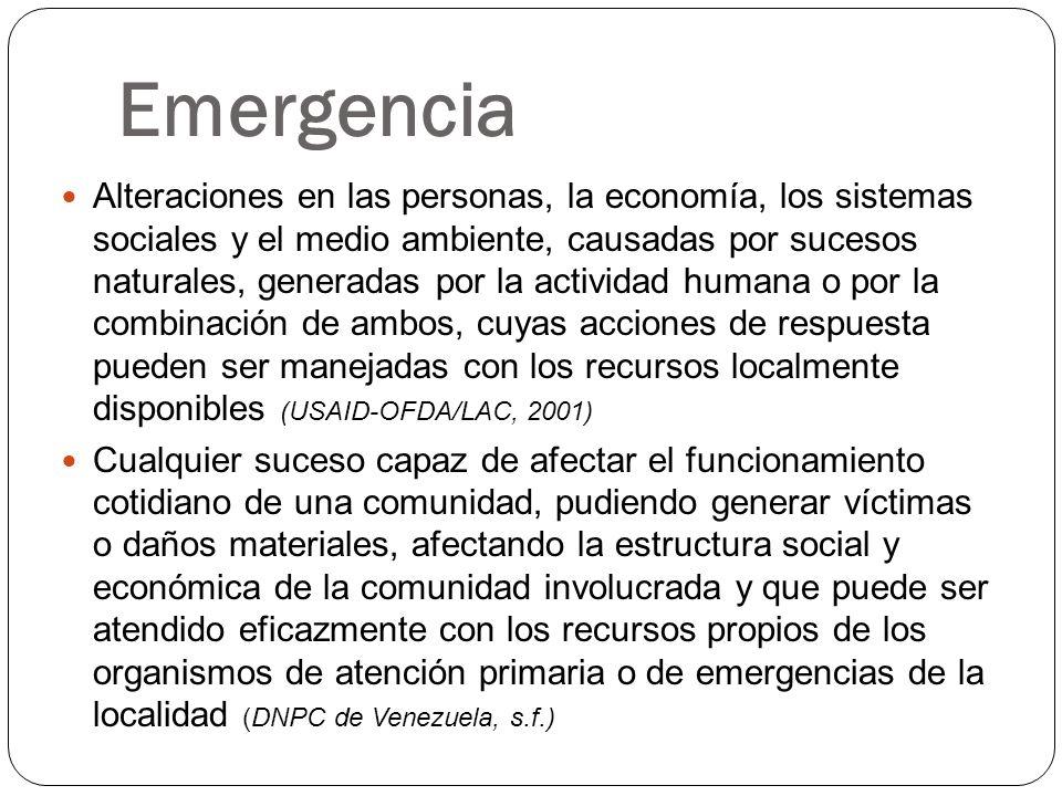 Emergencia Alteraciones en las personas, la economía, los sistemas sociales y el medio ambiente, causadas por sucesos naturales, generadas por la acti