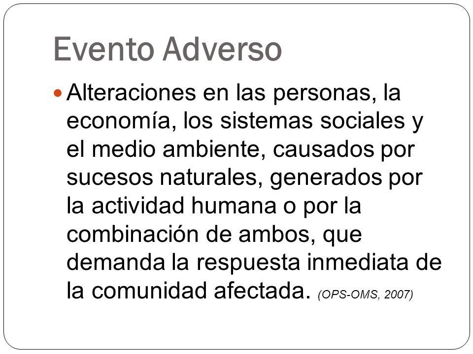 Evento Adverso Alteraciones en las personas, la economía, los sistemas sociales y el medio ambiente, causados por sucesos naturales, generados por la