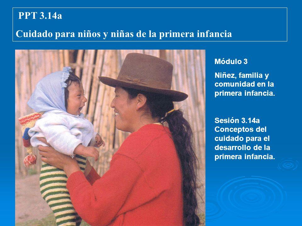 PPT 3.14a Cuidado para niños y niñas de la primera infancia Módulo 3 Niñez, familia y comunidad en la primera infancia. Sesión 3.14a Conceptos del cui