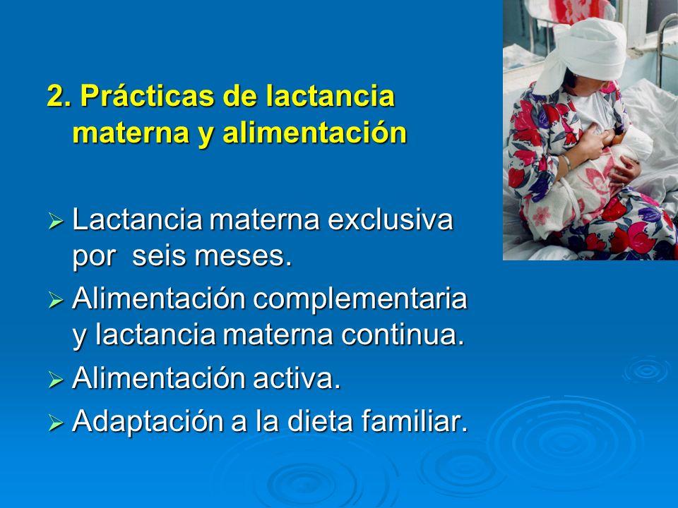 2. Prácticas de lactancia materna y alimentación Lactancia materna exclusiva por seis meses. Lactancia materna exclusiva por seis meses. Alimentación