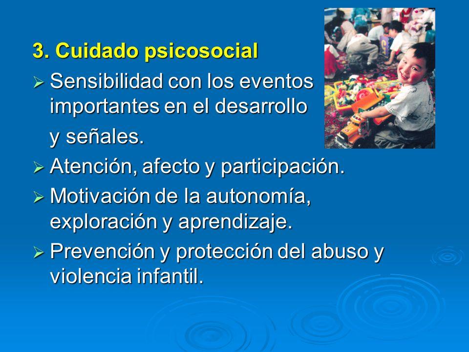 Sensibilidad con los eventos importantes en el desarrollo Sensibilidad con los eventos importantes en el desarrollo y señales. y señales. Atención, af