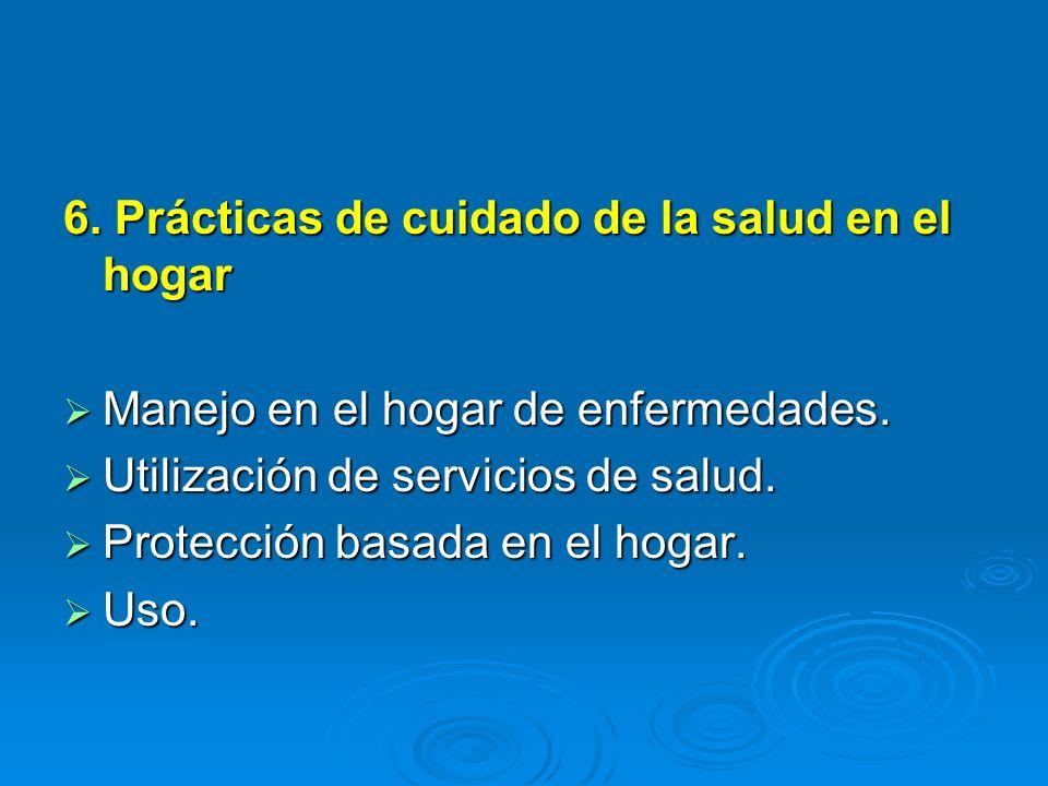 6. Prácticas de cuidado de la salud en el hogar Manejo en el hogar de enfermedades. Manejo en el hogar de enfermedades. Utilización de servicios de sa