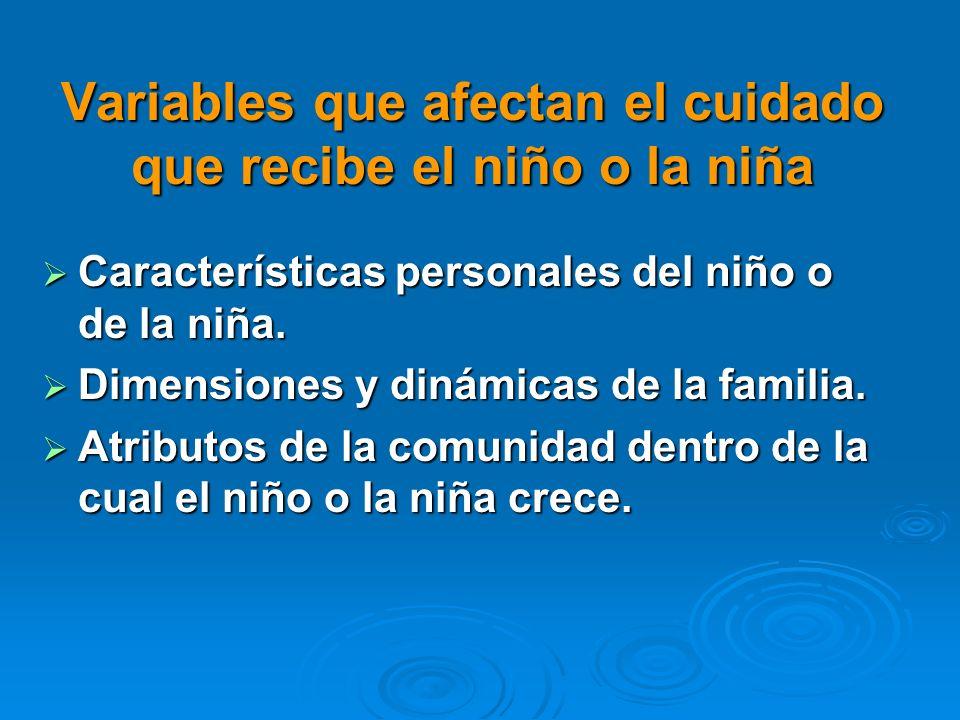 Variables que afectan el cuidado que recibe el niño o la niña Características personales del niño o de la niña. Características personales del niño o