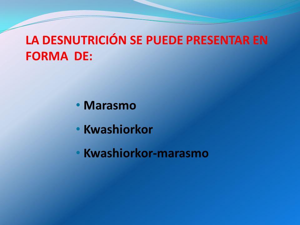 MARASMO Desnutrición crónica o consunción grave: Se caracteriza por: - Pérdida de peso crónica.