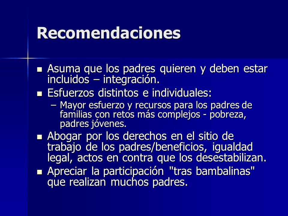 Recomendaciones Asuma que los padres quieren y deben estar incluidos – integración. Asuma que los padres quieren y deben estar incluidos – integración