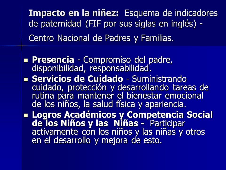 Impacto en la niñez: Esquema de indicadores de paternidad (FIF por sus siglas en inglés) - Centro Nacional de Padres y Familias. Presencia - Compromis