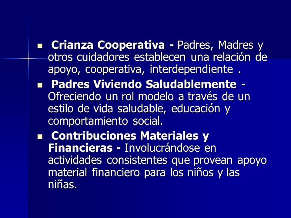 Crianza Cooperativa - Padres, Madres y otros cuidadores establecen una relación de apoyo, cooperativa, interdependiente. Crianza Cooperativa - Padres,