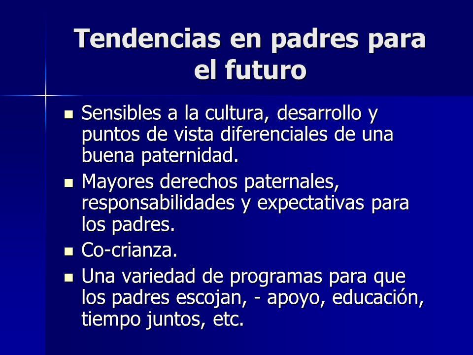 Tendencias en padres para el futuro Sensibles a la cultura, desarrollo y puntos de vista diferenciales de una buena paternidad. Sensibles a la cultura
