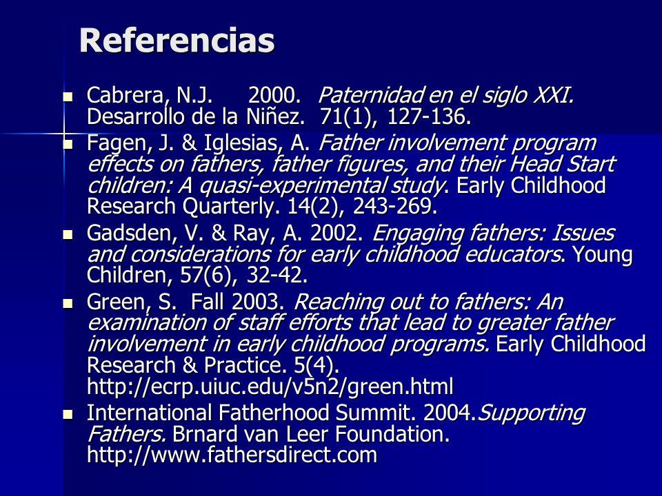 Referencias Cabrera, N.J. 2000. Paternidad en el siglo XXI. Desarrollo de la Niñez. 71(1), 127-136. Cabrera, N.J. 2000. Paternidad en el siglo XXI. De