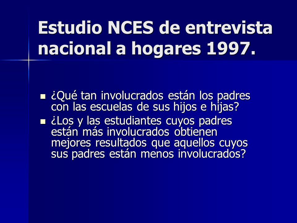 Estudio NCES de entrevista nacional a hogares 1997. ¿Qué tan involucrados están los padres con las escuelas de sus hijos e hijas? ¿Qué tan involucrado