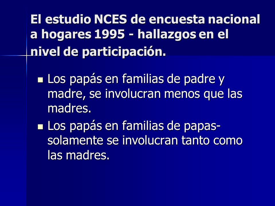 El estudio NCES de encuesta nacional a hogares 1995 - hallazgos en el nivel de participación. Los papás en familias de padre y madre, se involucran me