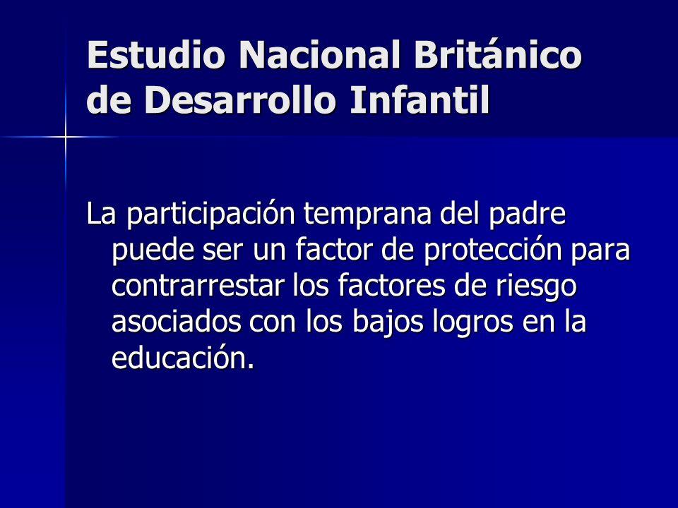 Estudio Nacional Británico de Desarrollo Infantil La participación temprana del padre puede ser un factor de protección para contrarrestar los factore