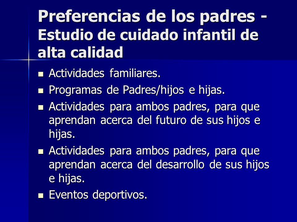 Preferencias de los padres - Estudio de cuidado infantil de alta calidad Actividades familiares. Actividades familiares. Programas de Padres/hijos e h