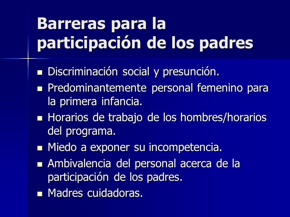 Barreras para la participación de los padres Discriminación social y presunción. Discriminación social y presunción. Predominantemente personal femeni