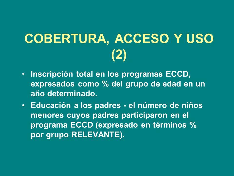 COBERTURA, ACCESO Y USO (2) Inscripción total en los programas ECCD, expresados como % del grupo de edad en un año determinado.