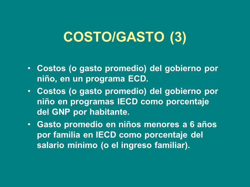 COSTO/GASTO (3) Costos (o gasto promedio) del gobierno por niño, en un programa ECD.