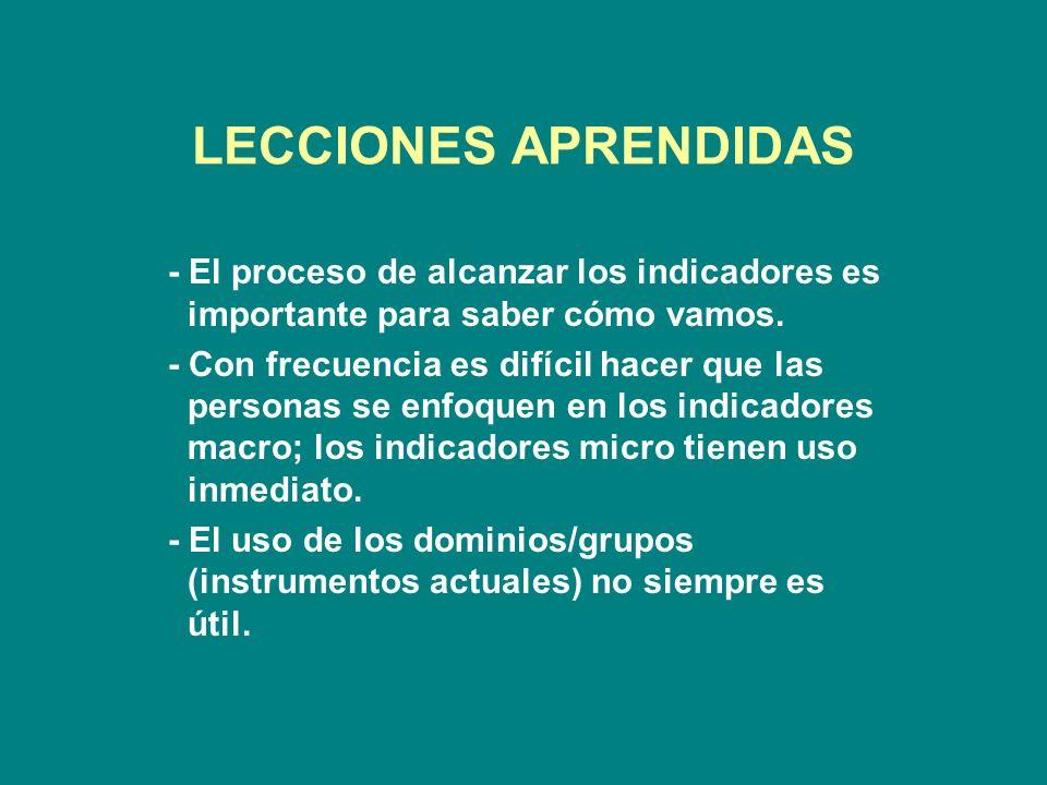 LECCIONES APRENDIDAS - El proceso de alcanzar los indicadores es importante para saber cómo vamos.