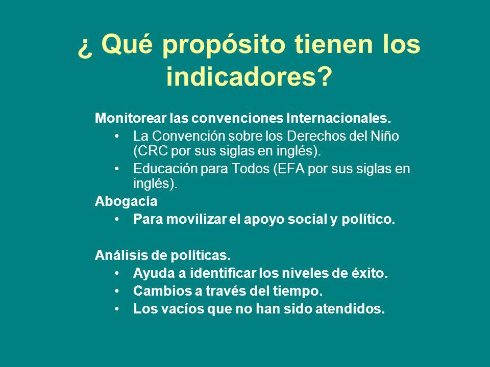 ¿ Qué propósito tienen los indicadores. Monitorear las convenciones Internacionales.
