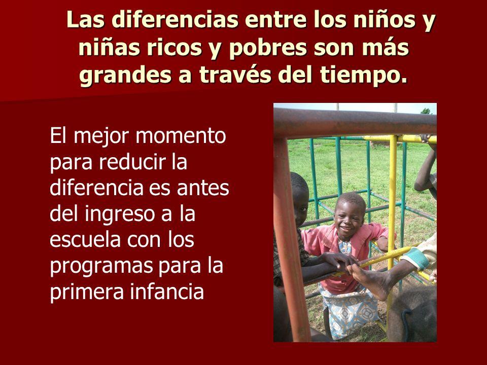 Las diferencias entre los niños y niñas ricos y pobres son más grandes a través del tiempo. Las diferencias entre los niños y niñas ricos y pobres son