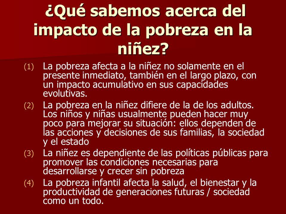 ¿Qué sabemos acerca del impacto de la pobreza en la niñez? ¿Qué sabemos acerca del impacto de la pobreza en la niñez? (1) (1) La pobreza afecta a la n