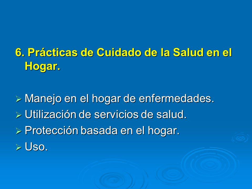 6. Prácticas de Cuidado de la Salud en el Hogar. Manejo en el hogar de enfermedades. Manejo en el hogar de enfermedades. Utilización de servicios de s