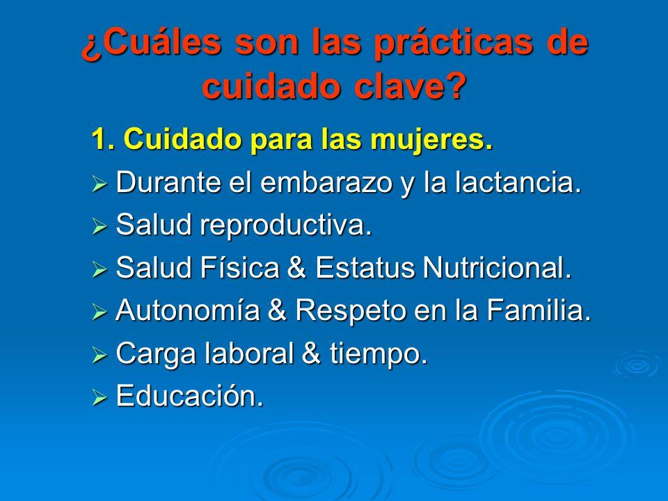 ¿Cuáles son las prácticas de cuidado clave? 1. Cuidado para las mujeres. Durante el embarazo y la lactancia. Durante el embarazo y la lactancia. Salud