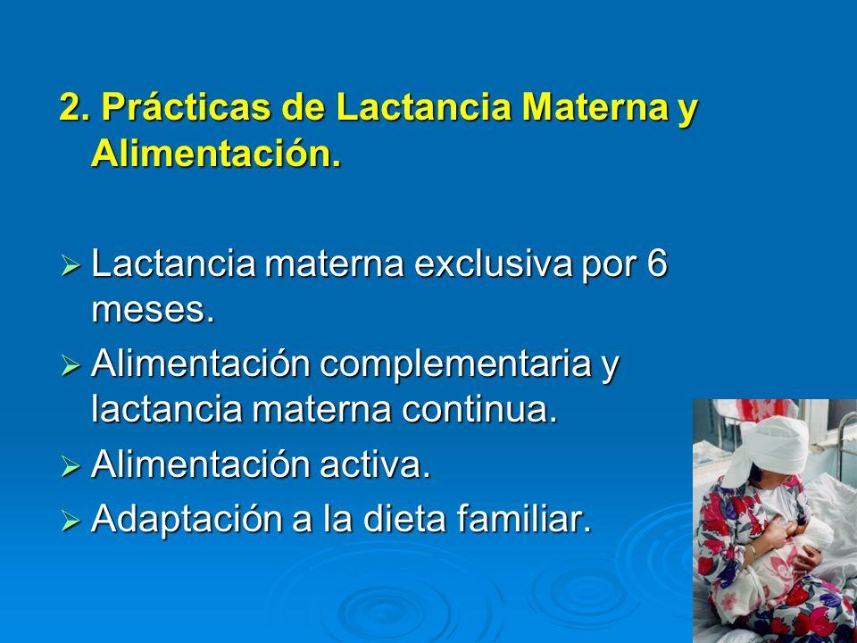 2. Prácticas de Lactancia Materna y Alimentación. Lactancia materna exclusiva por 6 meses. Lactancia materna exclusiva por 6 meses. Alimentación compl