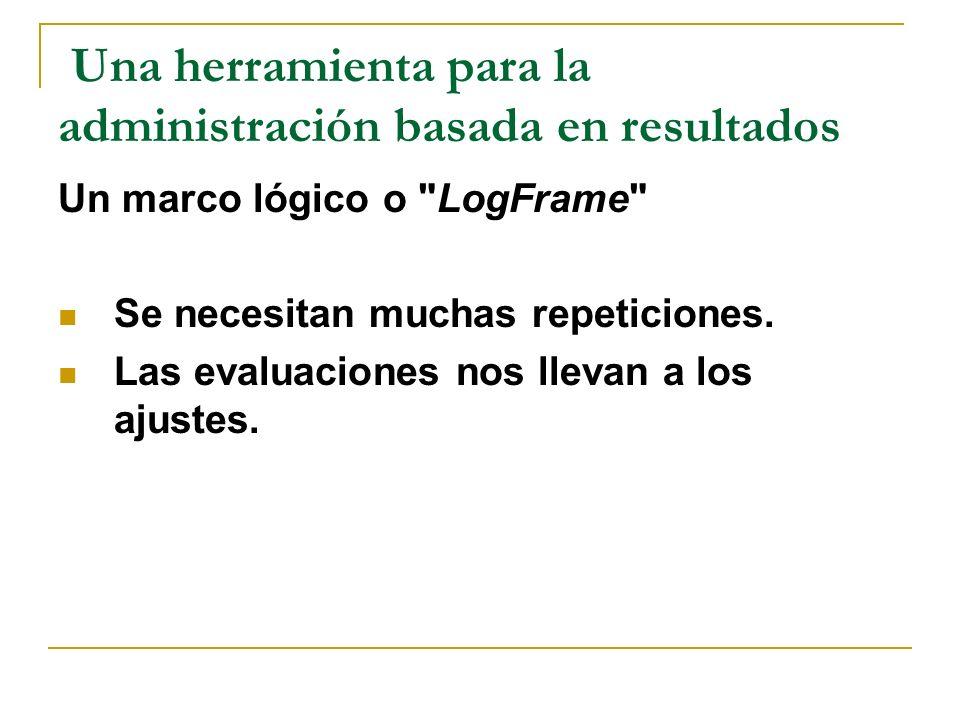 Una herramienta para la administración basada en resultados Un marco lógico o