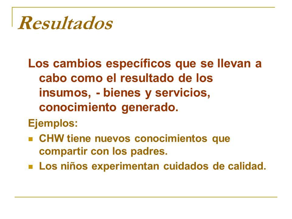 Resultados Los cambios específicos que se llevan a cabo como el resultado de los insumos, - bienes y servicios, conocimiento generado. Ejemplos: CHW t