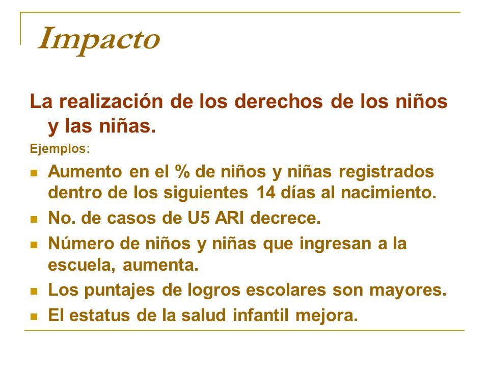 Ejemplo: Objetivo: Reducir la malnutrición crónica en los niños entre 0-3 años de edad en un 20% para 2015.