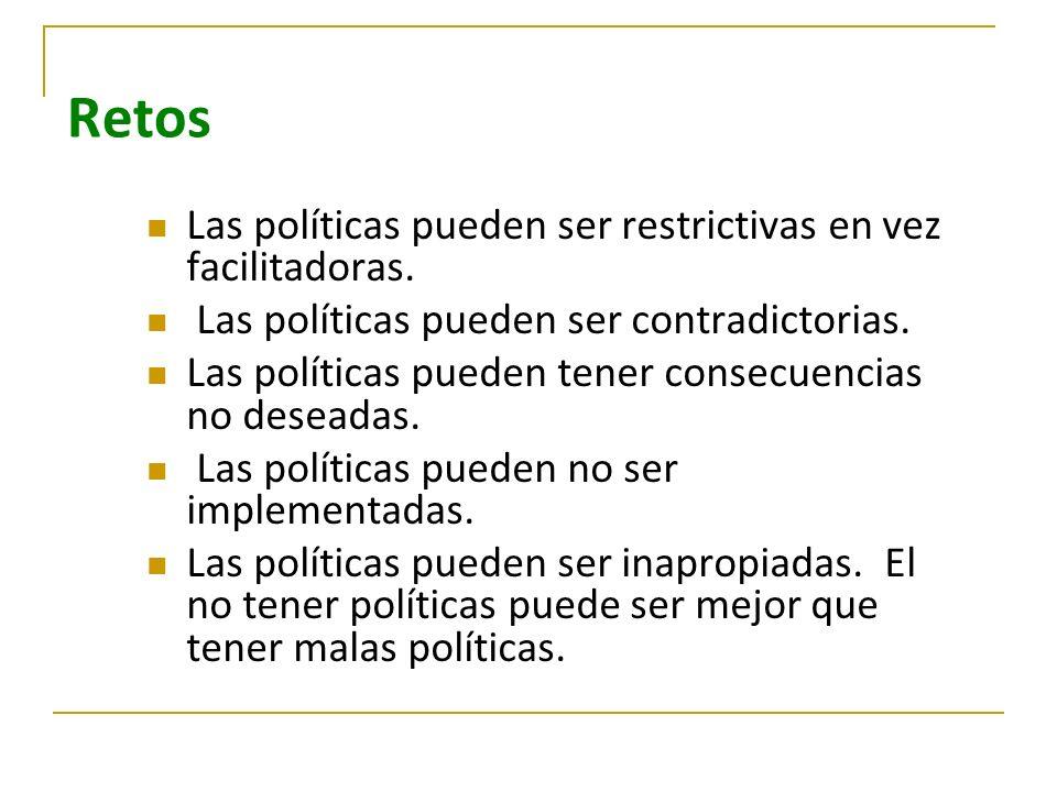 Retos Las políticas pueden ser restrictivas en vez facilitadoras. Las políticas pueden ser contradictorias. Las políticas pueden tener consecuencias n