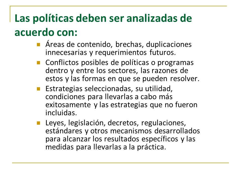 Las políticas deben ser analizadas de acuerdo con: Áreas de contenido, brechas, duplicaciones innecesarias y requerimientos futuros. Conflictos posibl