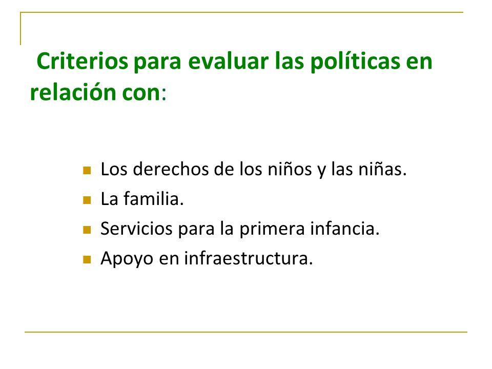 Criterios para evaluar las políticas en relación con: Los derechos de los niños y las niñas. La familia. Servicios para la primera infancia. Apoyo en