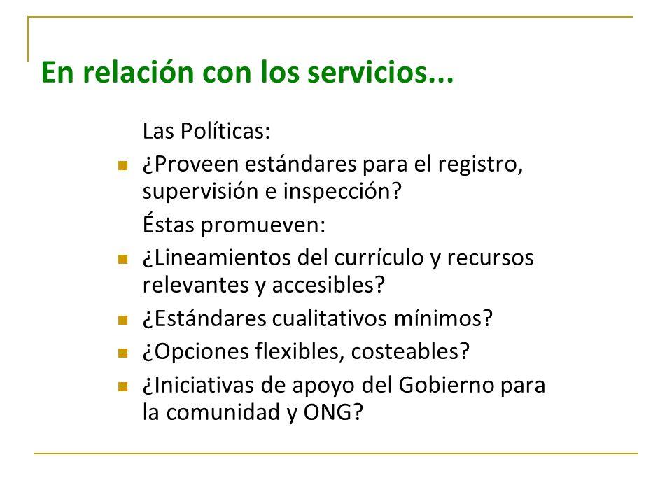 En relación con los servicios... Las Políticas: ¿Proveen estándares para el registro, supervisión e inspección? Éstas promueven: ¿Lineamientos del cur