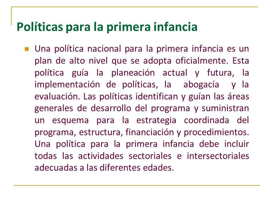 Políticas para la primera infancia Una política nacional para la primera infancia es un plan de alto nivel que se adopta oficialmente. Esta política g