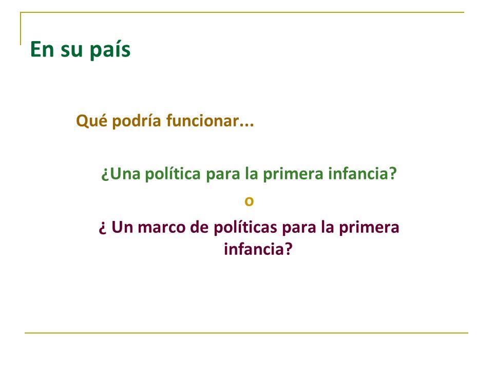 En su país Qué podría funcionar... ¿Una política para la primera infancia? o ¿ Un marco de políticas para la primera infancia?