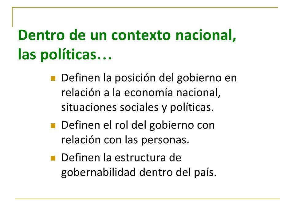 Dentro de un contexto nacional, las políticas … Definen la posición del gobierno en relación a la economía nacional, situaciones sociales y políticas.