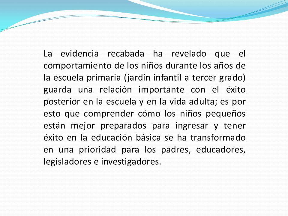 La evidencia recabada ha revelado que el comportamiento de los niños durante los años de la escuela primaria (jardín infantil a tercer grado) guarda u