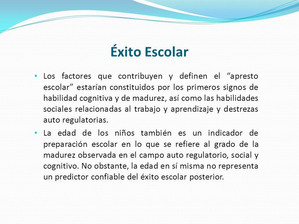 Éxito Escolar Los factores que contribuyen y definen el apresto escolar estarían constituidos por los primeros signos de habilidad cognitiva y de madu